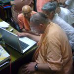 Srila B.B. Tirtha Maharaja observing the WVA on the Internet.