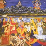 Sri Krishna lifting Govardhan hill