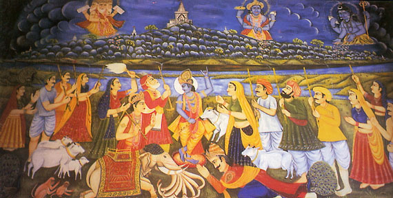 Krishna lifting mount Govardhan