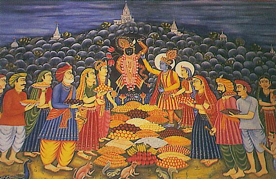 Worshipping Govardhan
