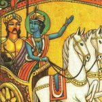 Sri Krishna speaking Bhagavad-gita to Arjuna