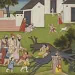 Krsna uproots Yamala-Arjuna Trees