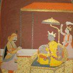 Arjuna worshipping Krishna