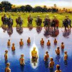 Lord Caitanya taking Sacred Bath