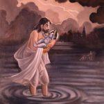 Vasudeva brings baby Krishna to Vrindavan