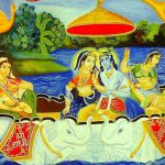 Krishna and the Gopis boat ride on Yamuna river