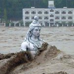 Lord Shiva taking bath in the Ganges river