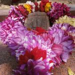 Mahaprabhu's little lotus feet at his birth place decorated with flowers