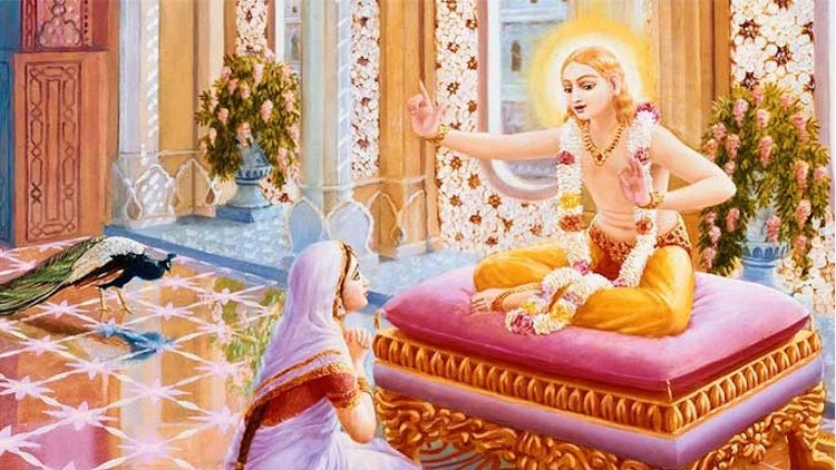 Kapila teaching his mother Devahuti about how to see family attachments and other things in life through the eyes of wisdom.