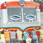 When passengers pushed a railbus for half-a-kilometre