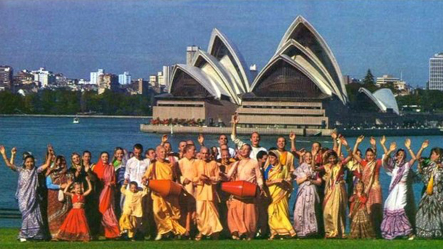 ISKCON devotees chant in front of the Sydney Opera House in 1981