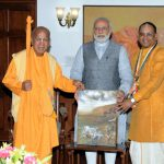 H.H. Gopal Krishna Goswami Delivers Gita  to Narendra Modi
