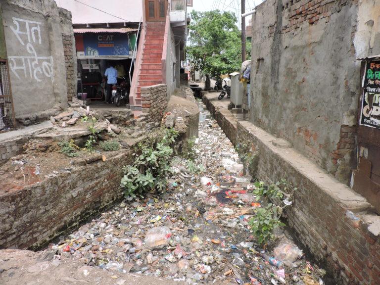 Drain off Mathura Road near the Nagar Palika.