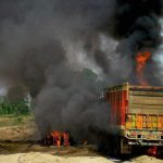 Truck carrying carcasses of cows set afire in Mathura