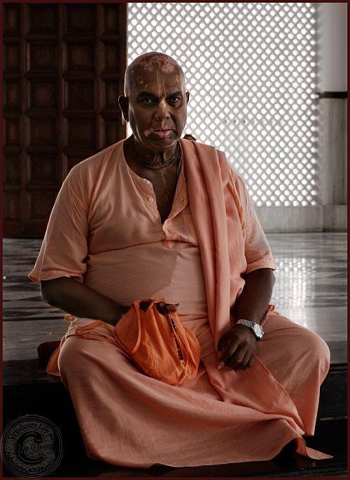 HH Bhaktivrajendranandana Maharaja chanting Jappa Mala in Iskcon Temple Malaysia