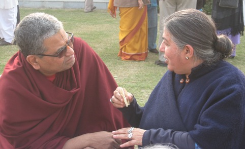 Shrivatsa Goswami and Vandana Shiva deep in discussion